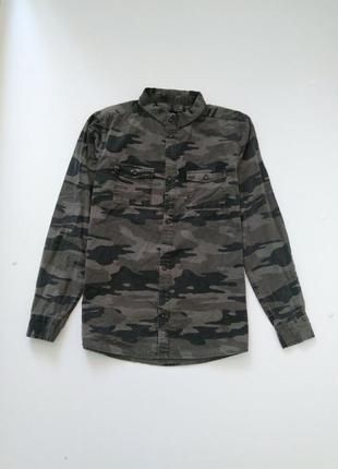 Рубашка защитного цвета here there для мальчика р.158-164 на 13-15 лет