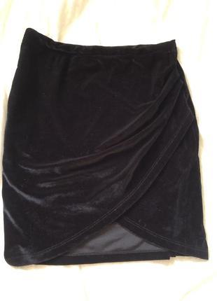 ‼️до 24.08 -20% на все‼️ спідниця / юбка ассиметричная  на запах велюровая бархатная