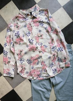 Рубашка с цветочный принт h&m3 фото