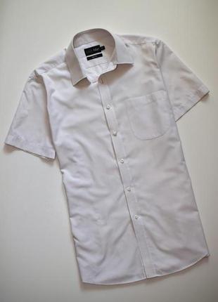 Белая мужская рубашка в клетку marks & spencer короткий рукав