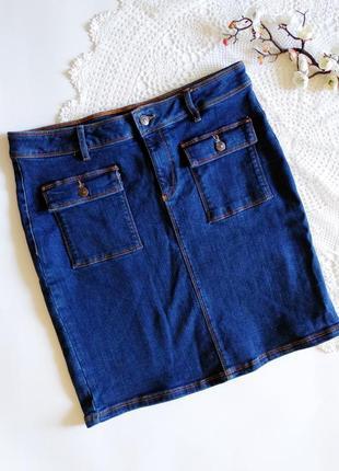 Джинсовая юбка с накладными карманами f&f