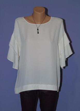 Кремовая блузочка с рюшами на рукавах
