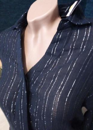 Брендовая рубашка жатка серебряная нитка люрикс8 фото