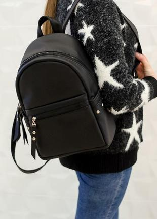 Женский чёрный рюкзак с украшением для школы, работы, отдыха
