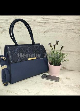 Женская повседневная сумка со змеиным принтом и с длинной ручкой d3528 синяя