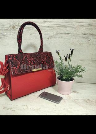 Женская повседневная сумка со змеиным принтом и с длинной ручкой d3528 красная