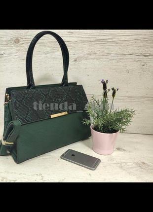 Женская повседневная сумка со змеиным принтом и с длинной ручкой d3528 зеленая