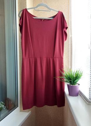 Стильное трикотажное платье mango цвета марсала с вырезами по плечам