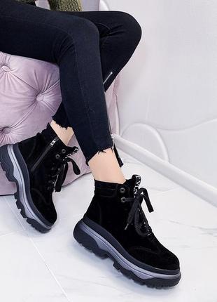 Новые кожаные  женские демисезонные черные ботинки