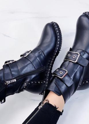 Новые женские кожаные черные демисезонные ботинки4 фото