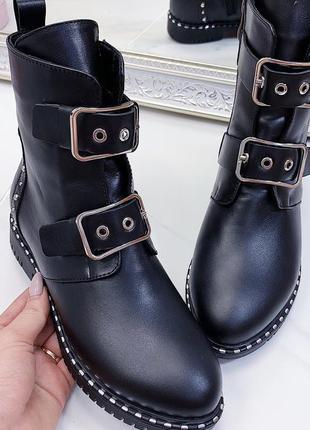 Новые женские кожаные черные демисезонные ботинки2 фото