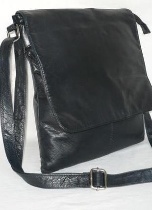 Большая кожаная сумка почтальон планшет через плечо а4 кроссбоди натуральная кожа