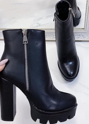 Новые женские черные осенние ботинки ботильоны