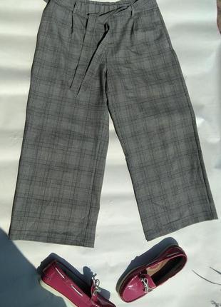 Стильные брюки кюлоты в клетку zara р.xl