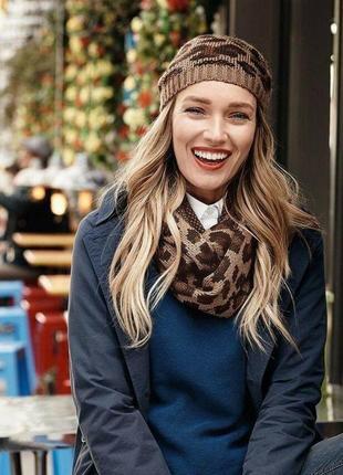 Женская вязаная тёплая шапка и снуд шарф tcm tchibo германия животный принт