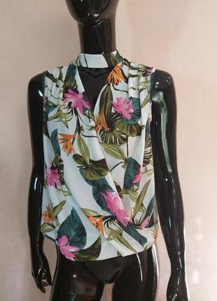 Шифоновая блуза с чокером на запах dorothy perkins uk 10 наш 44