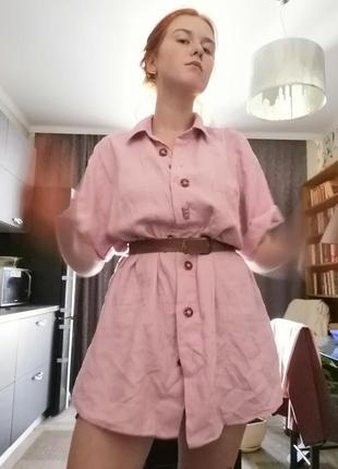 Льняная розовая крафтовая рубашка оверсайз