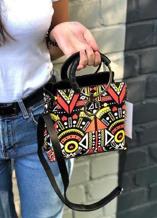 ⭐️ new ⭐️ каркасная сумочка с круглыми ручками и ярким принтом / сумка кросс-боди