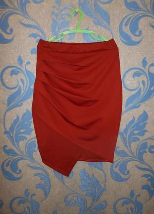 Асимметричная юбка-карандаш по фигуре, ткань дайвинг uk 10 р.