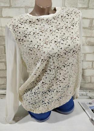Нежная блузка свитшот с гипюром и шифоном atmosphere