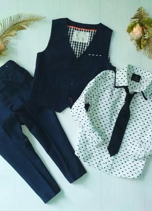 Нарядный комплект брюки жилетка, рубашка галстук