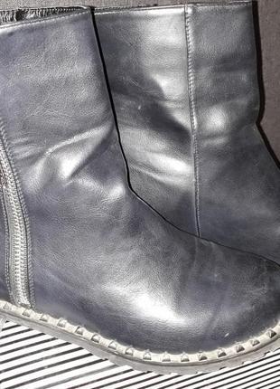 Ботиночки на небольшом каблуке рифленая подошва италия
