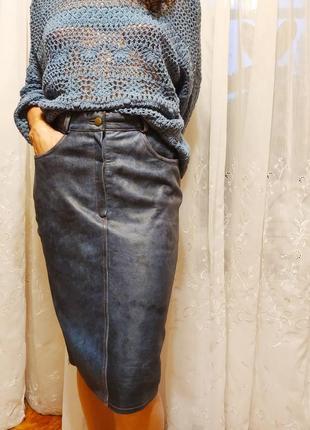 Очень крутая кожаная юбка миди натуральная под джинс с подкладкой