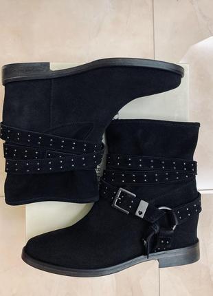 Ботинки замшевые черные twin set simona barbieri осенние низкий ход байкерские оригинал