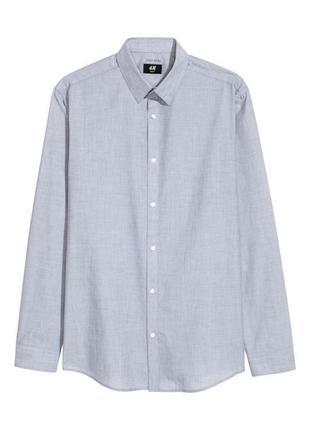 Серая рубашка slim fit h&m р.м