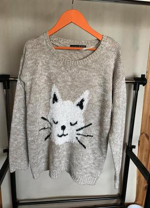 Кофта с котиком меланж пайетки  милая свитер