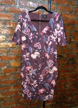 Платье футляр прямого силуэта с v-образным вырезом с цветочным принтом next