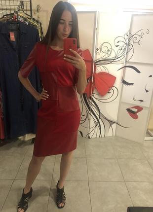 Mega sale !стильное красное платье с кожаными вставками