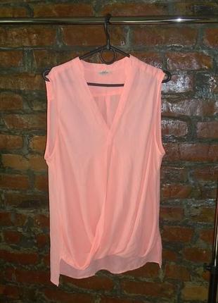 Блуза топ кофточка с драпировкой неонового оттенка river island