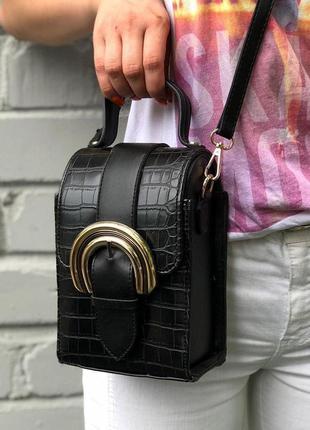 New ⭐️ кросс-боди сумочка необычной формы / каркасная сумка под рептилию / черный