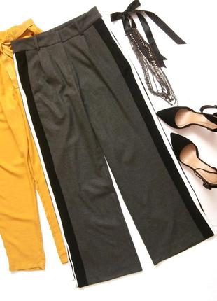 Широкие брюки с лампасами, теплые брюки палацо