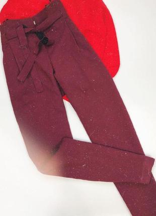 Брюки штаны классические бордовые с поясом atmosphere