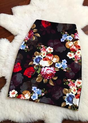 Юбка карандаш в цветы