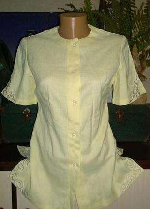 Лен блуза накидка кардиган жакет из льна с вышивкой