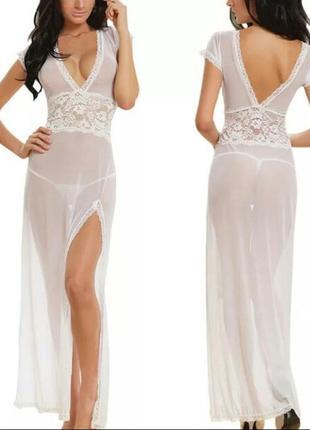 Сексуальное длинное вечернее платье прозрачное платье вечерний халат женское нижнее белье