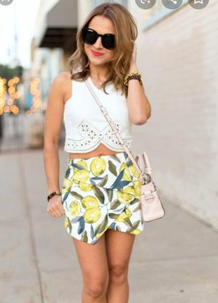 Шорты юбка с карманами принт лимоны от topshop