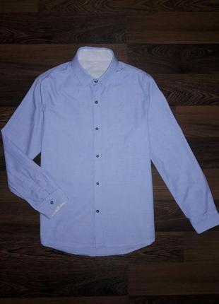 Элегантная хлопковая рубашка next на 10 лет с фактурной тканью