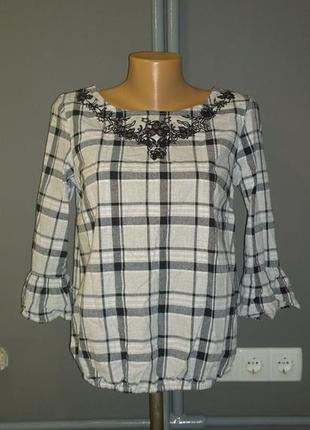 Хлопковая блуза кофточка в клетку из коттона с вышивкой george