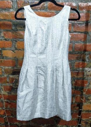 Стильное платье с пышной юбкой из серебристого жаккарда zara