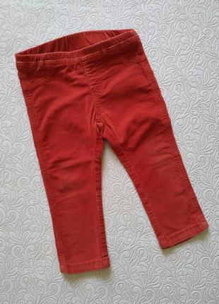 Красные брючки zara из микровельвета 12-18