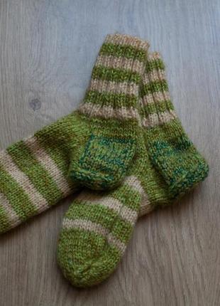 Носки из шерсти/полушерсти, вязаные. hand made