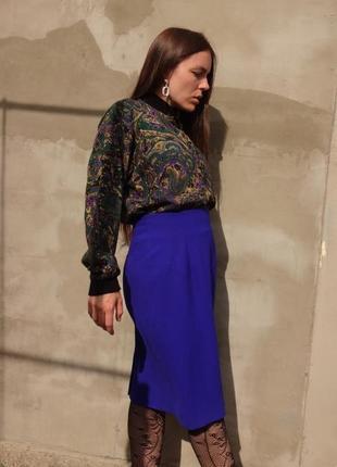 Винтажная юбка / ультрамариновый цвет / / liz claiborne /индиго