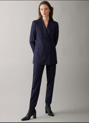 Темно синий шерстяной костюм massimo dutti