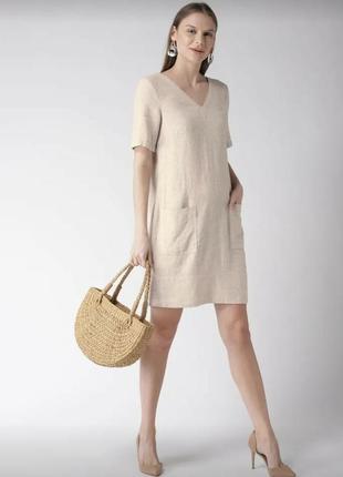 Льняное платье-шифт ровной модели