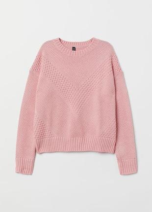 Розовый фактурный свитер h&m 50% хлопок1 фото