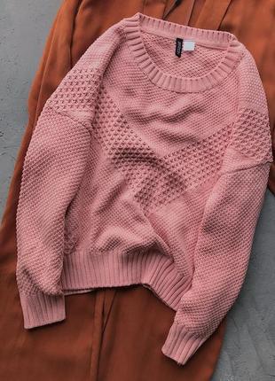 Розовый фактурный свитер h&m 50% хлопок4 фото